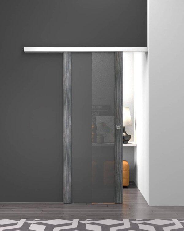 DoorArreda – Luce, LV 20, Grigio Spazzolato Vetro Saten Grey LV20 VERTICALE Copia